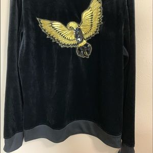 INC International Concepts Sweaters - mens hawk sequin embroidered black velvet sweater